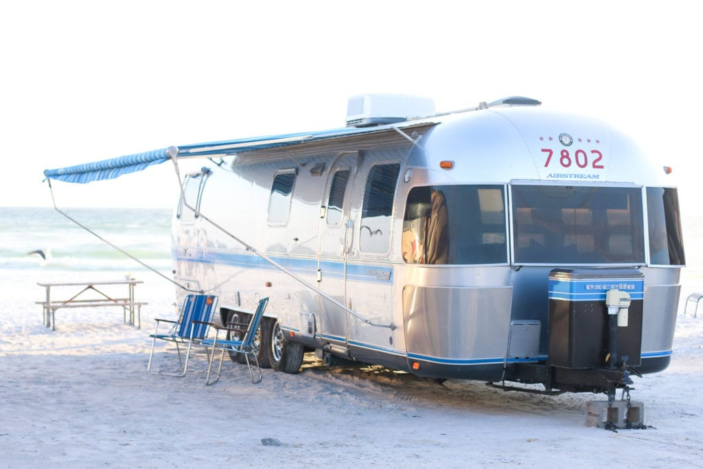 Airstream RV at Camp Gulf campsite