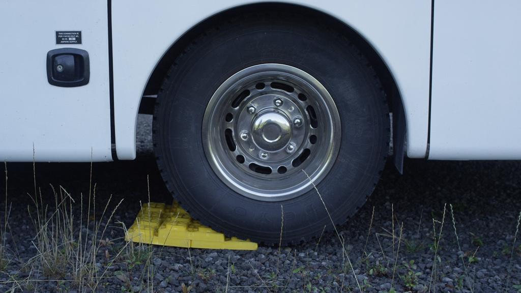 Leveling blocks under RV wheel