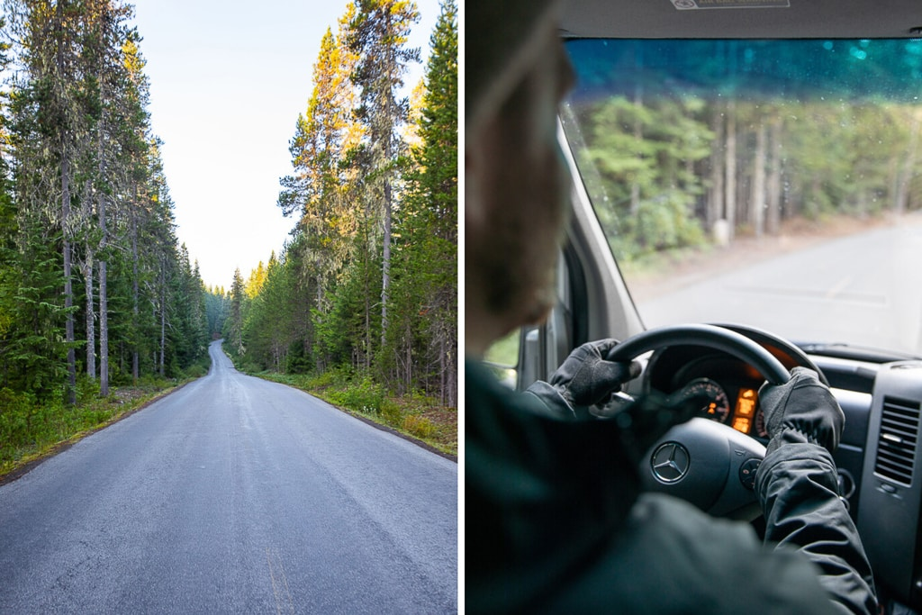 Driving down a forest road in an RV