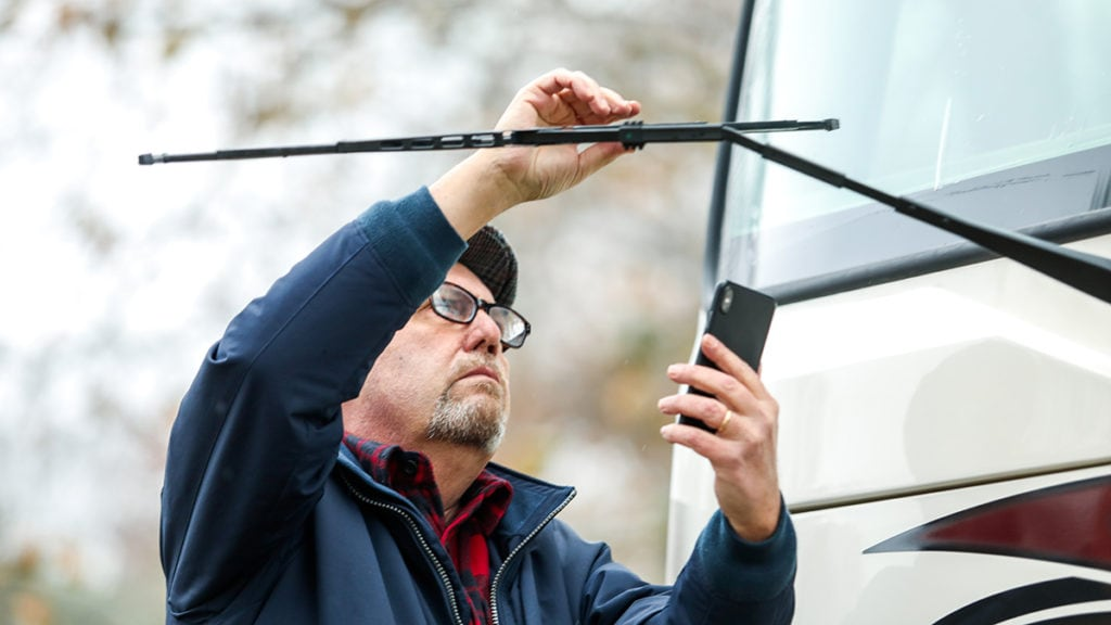 Checking windshield wipers on an RV