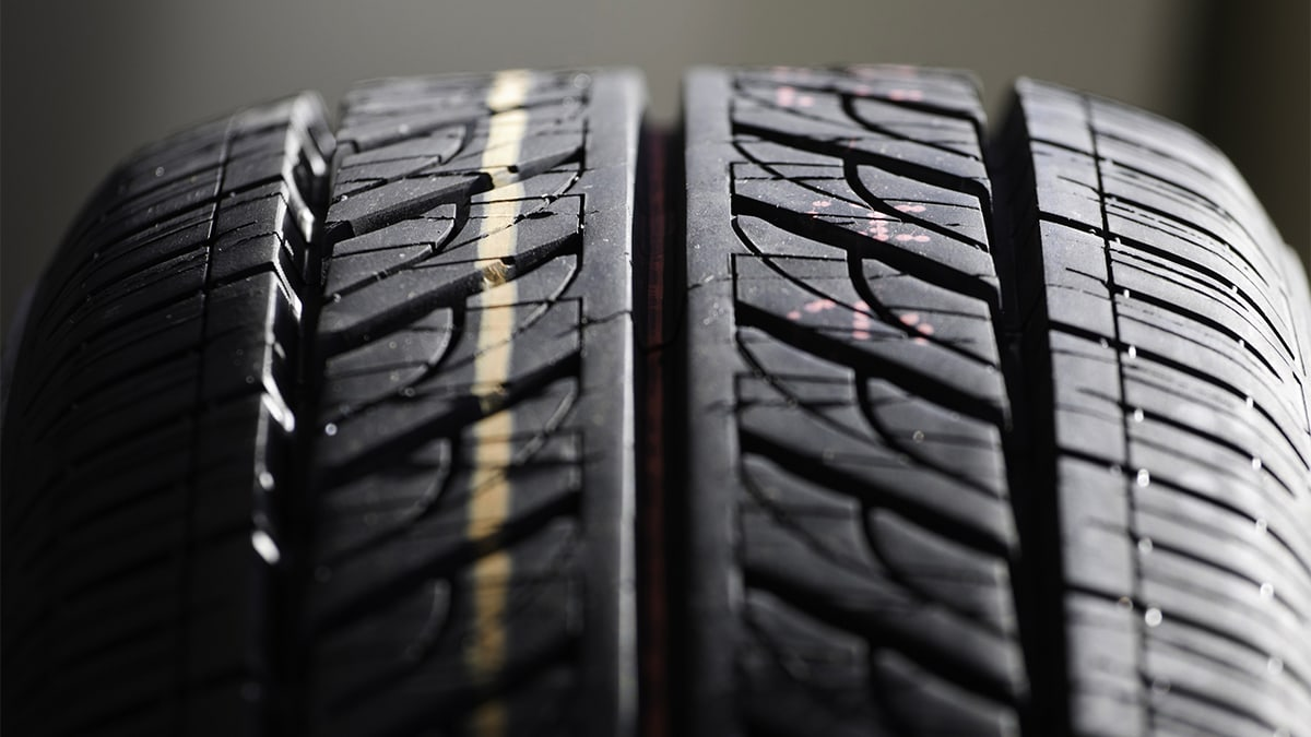 Close up of tread on a tire