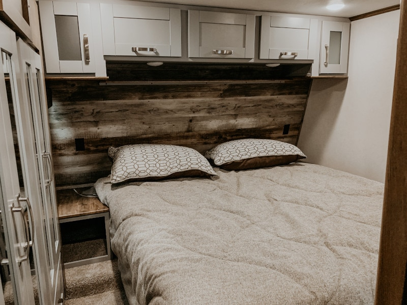 bedroom in an rv