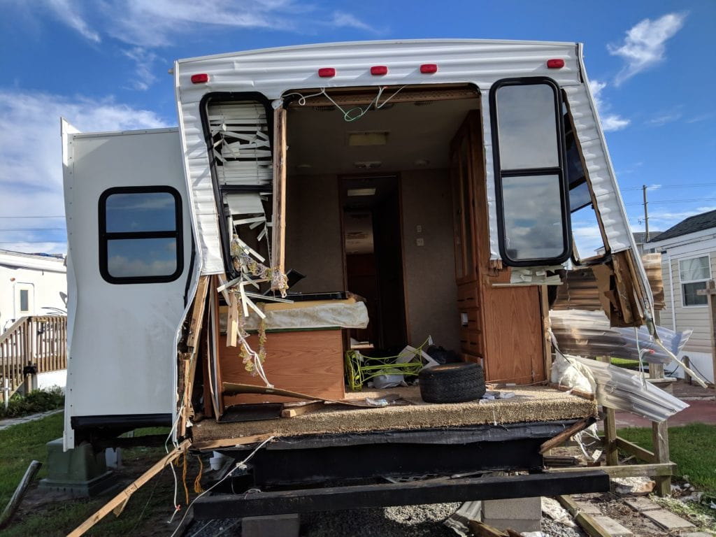 RV showing hurricane damage