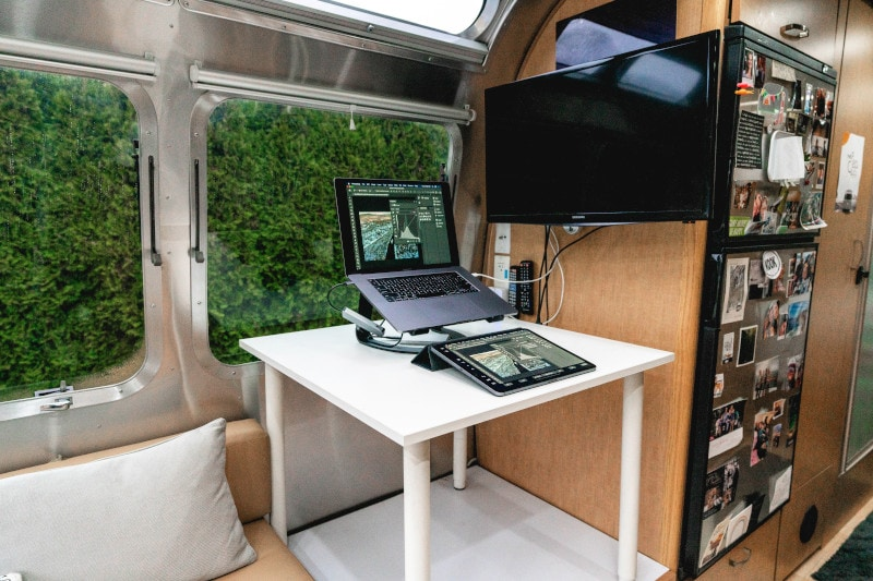 desk station in an rv