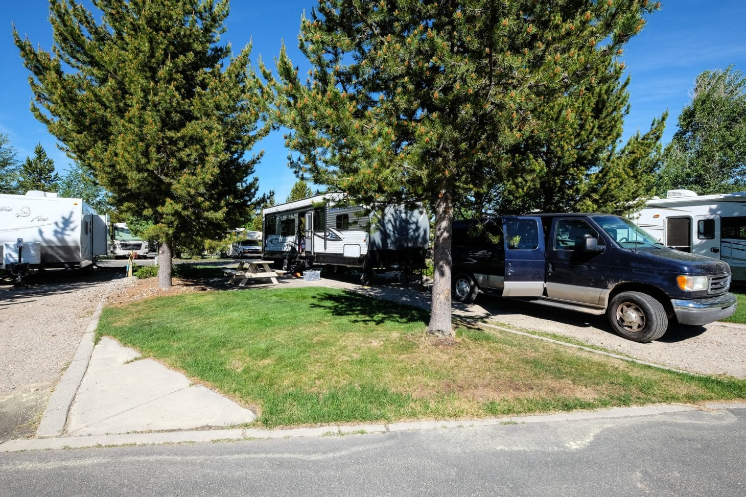 rv parked at a yellowstone national park campground