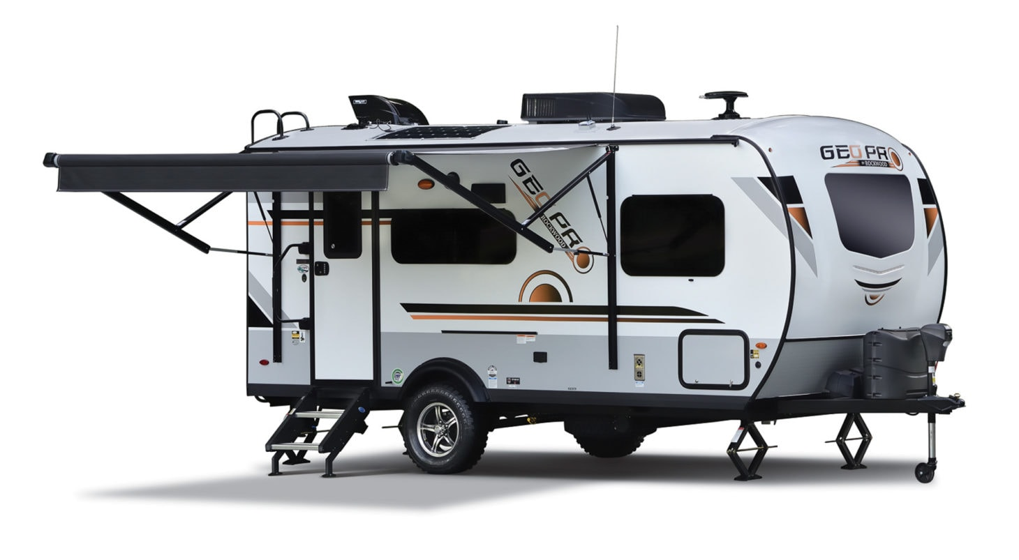 Product photo of the Rockwood Geo Pro with its awning extended, on a white background