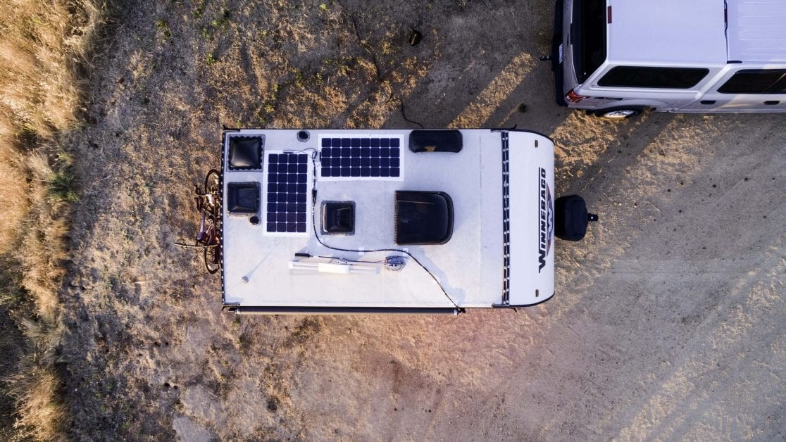 Aerial view of trailer with solar panels on roof