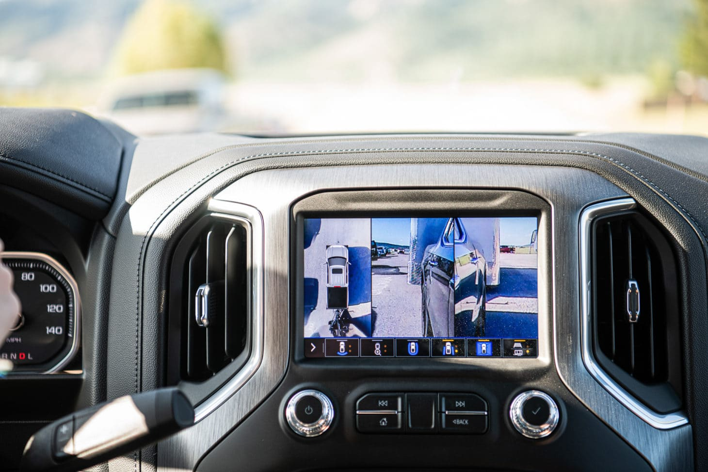 Rear view camera of a pickup truck with view of hitch