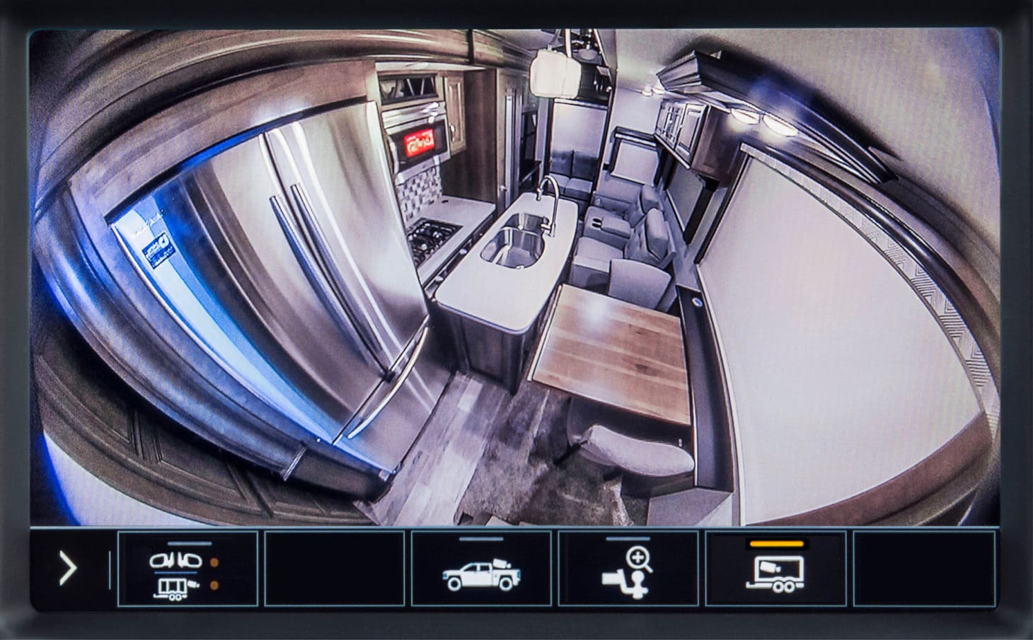 View of camera in pickup truck of attached travel trailer interior