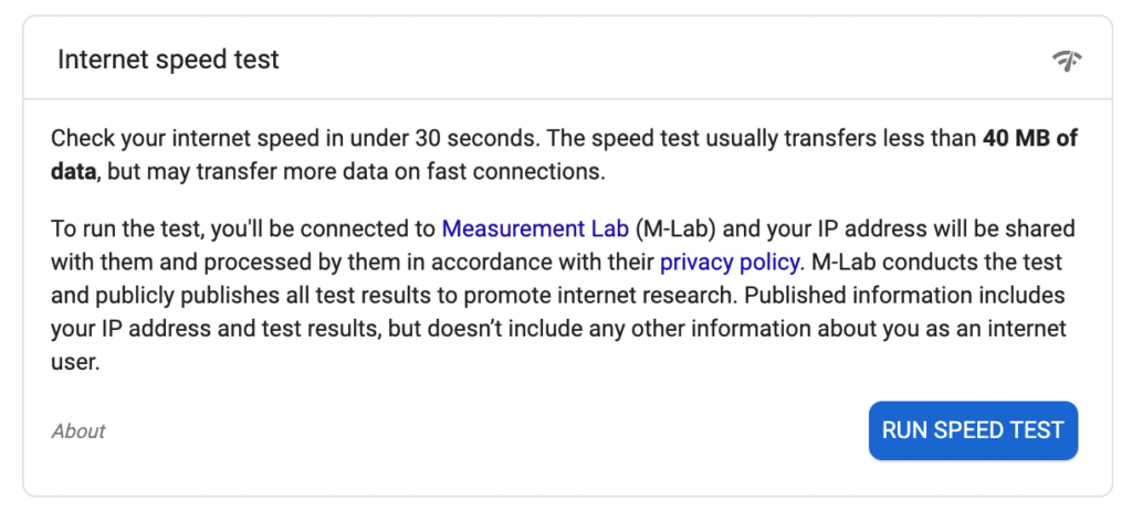 Description of what an internet speed test is