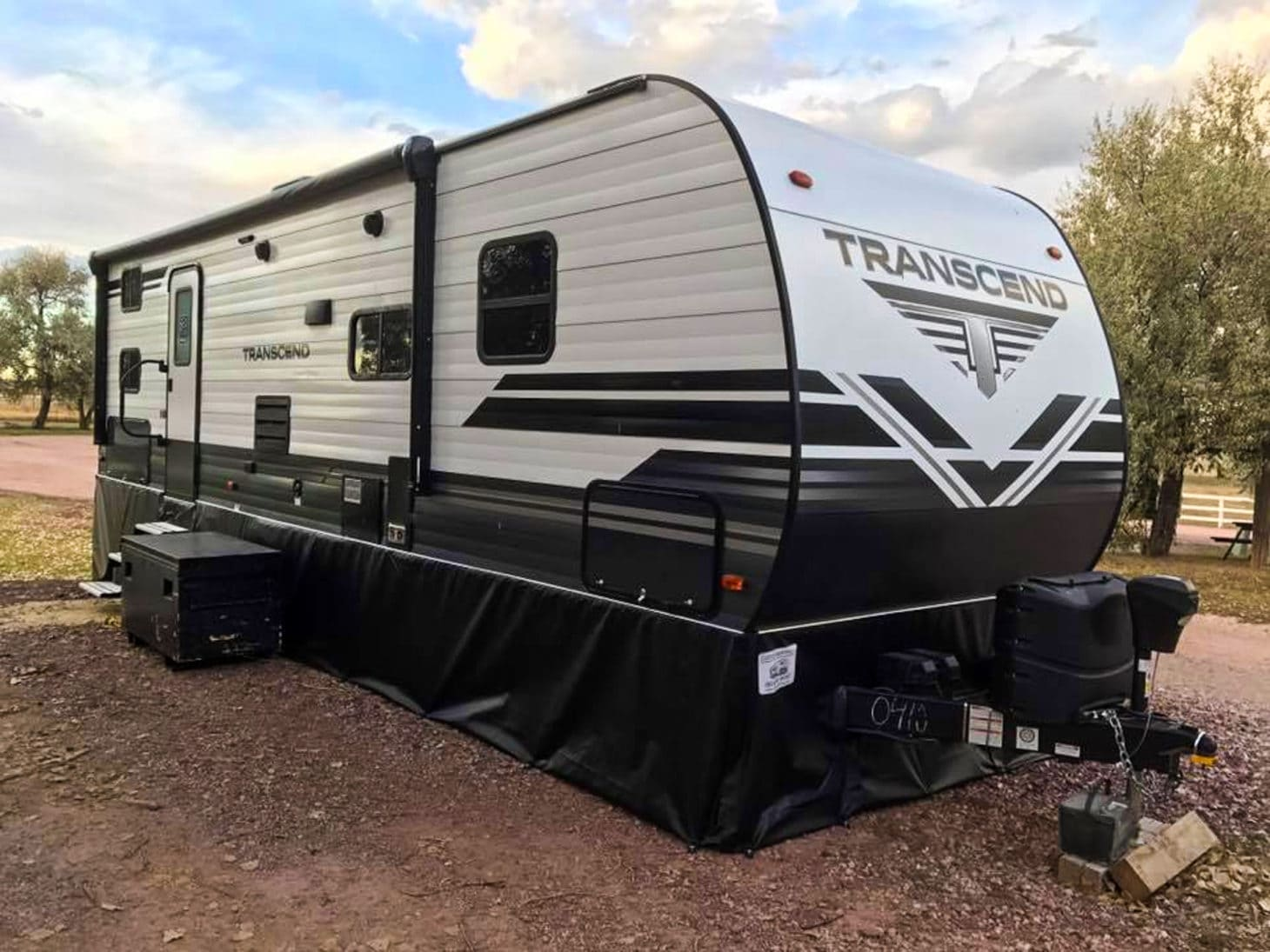 RV parked with skirting for winter