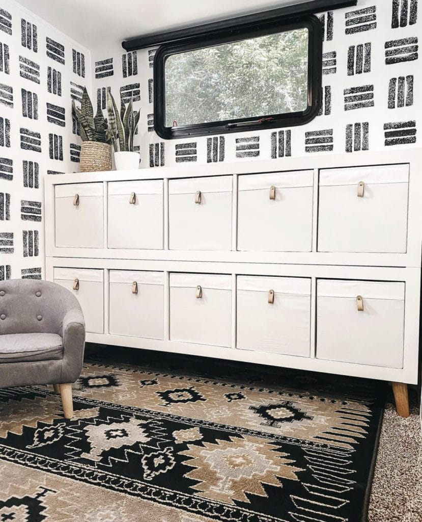 Cubed shelf with drawers in stylish RV trailer