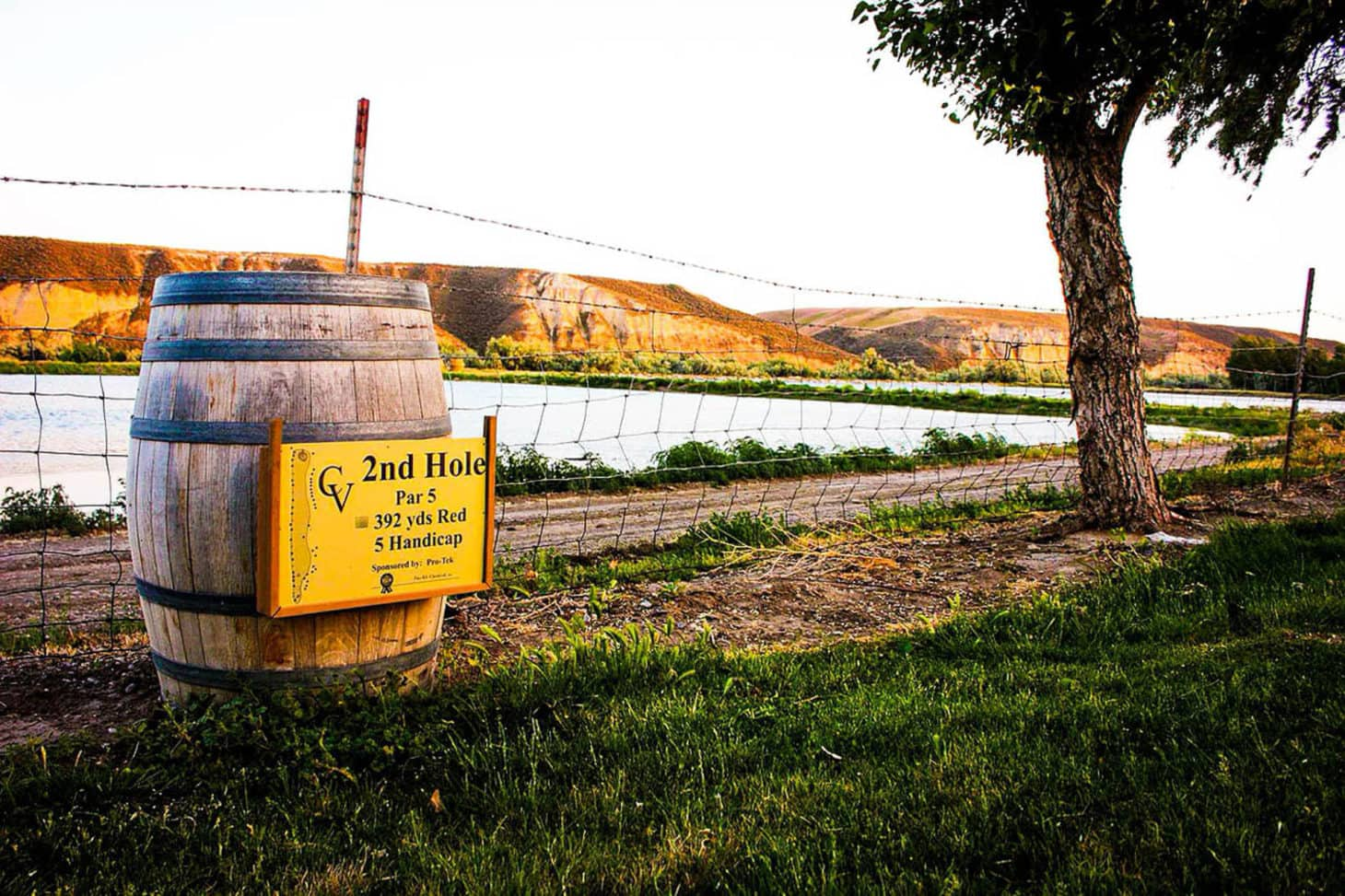 Disc golf hole at winery