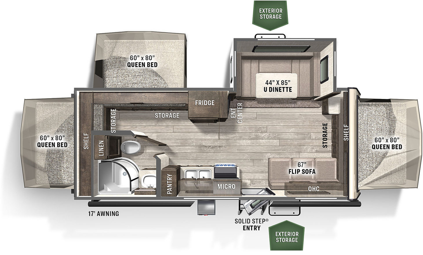 Floorplan for a hybrid RV featuring three queen-sized beds