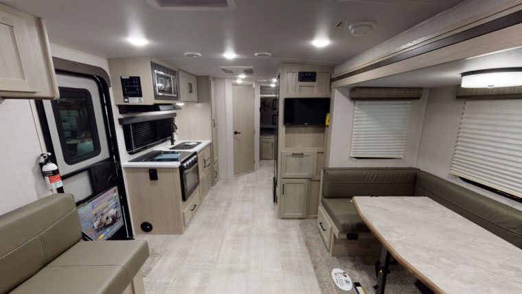 Interior living space of an RV trailer