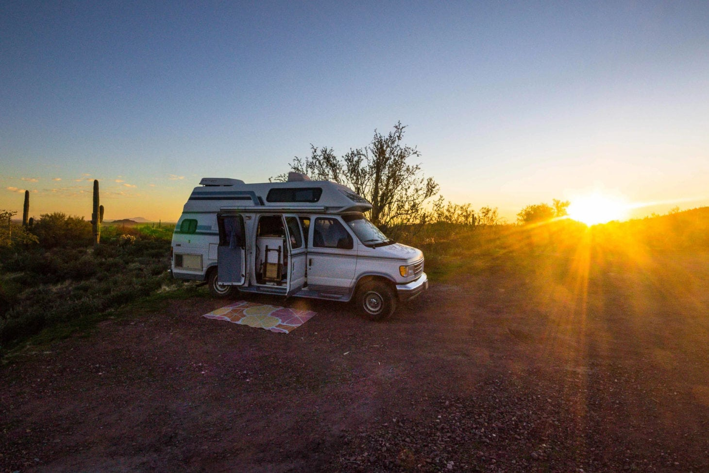 Van parked at a boondocking location during sunset