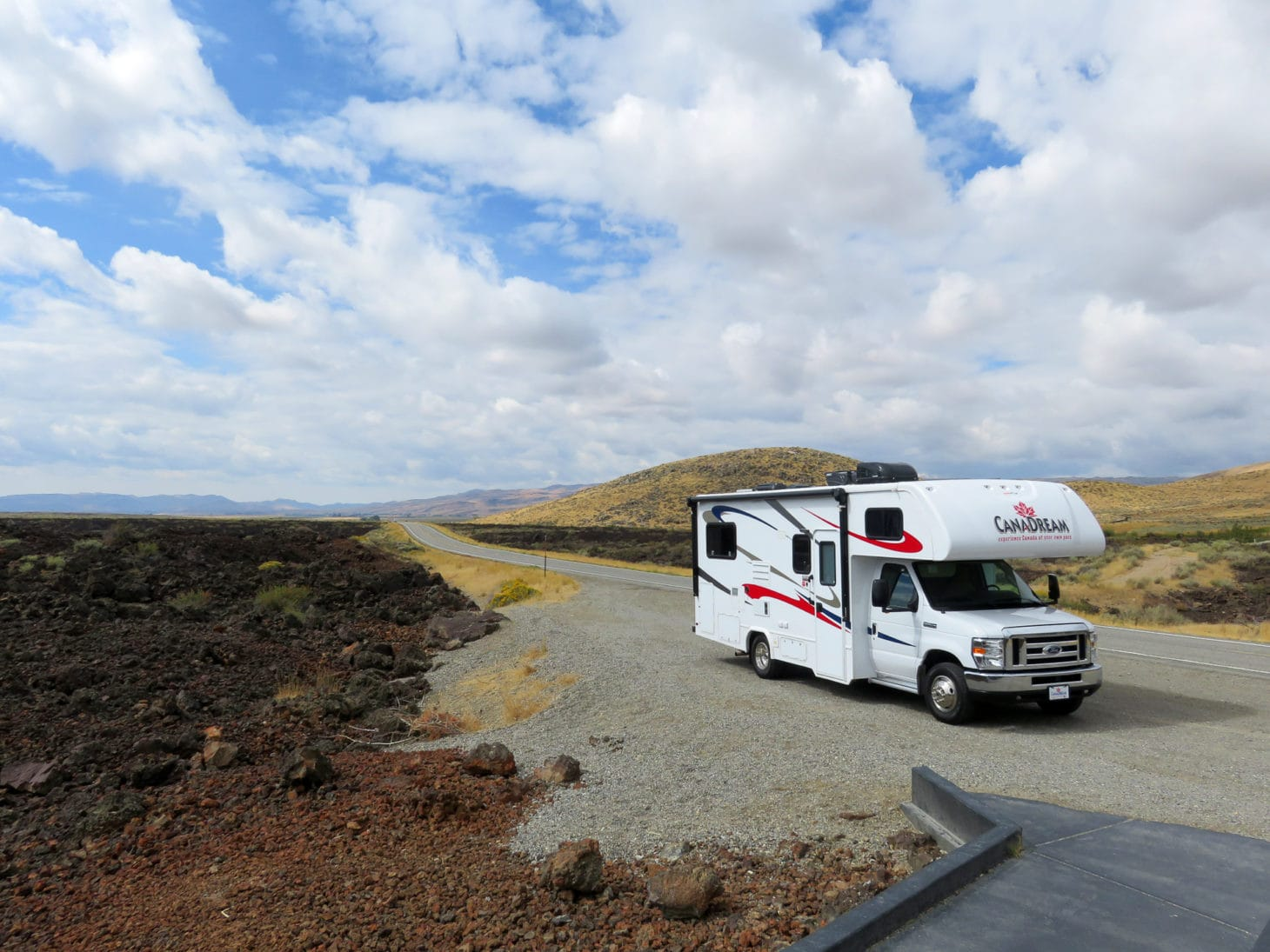 RV pulled over at scenic spot in Western Canada