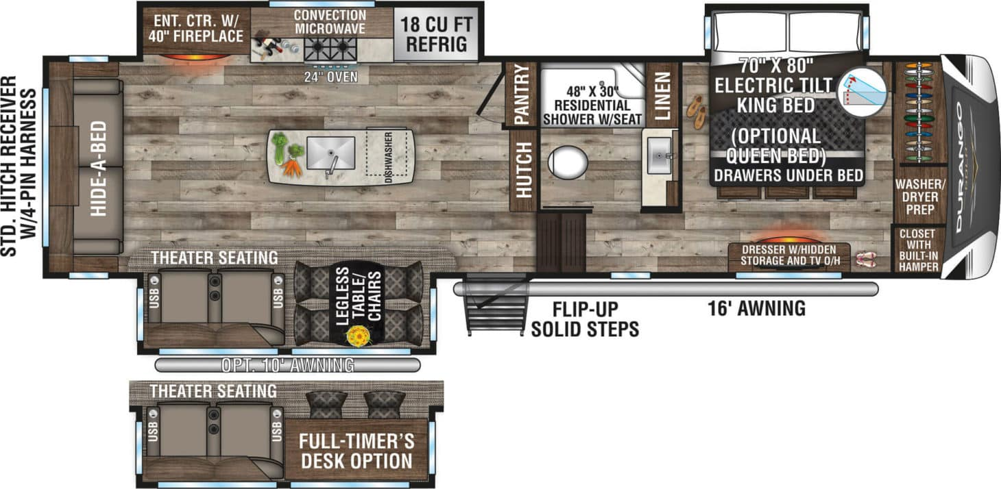Overview of a floorplan for a large trailer that includes a desk, fireplace, bed, and couch