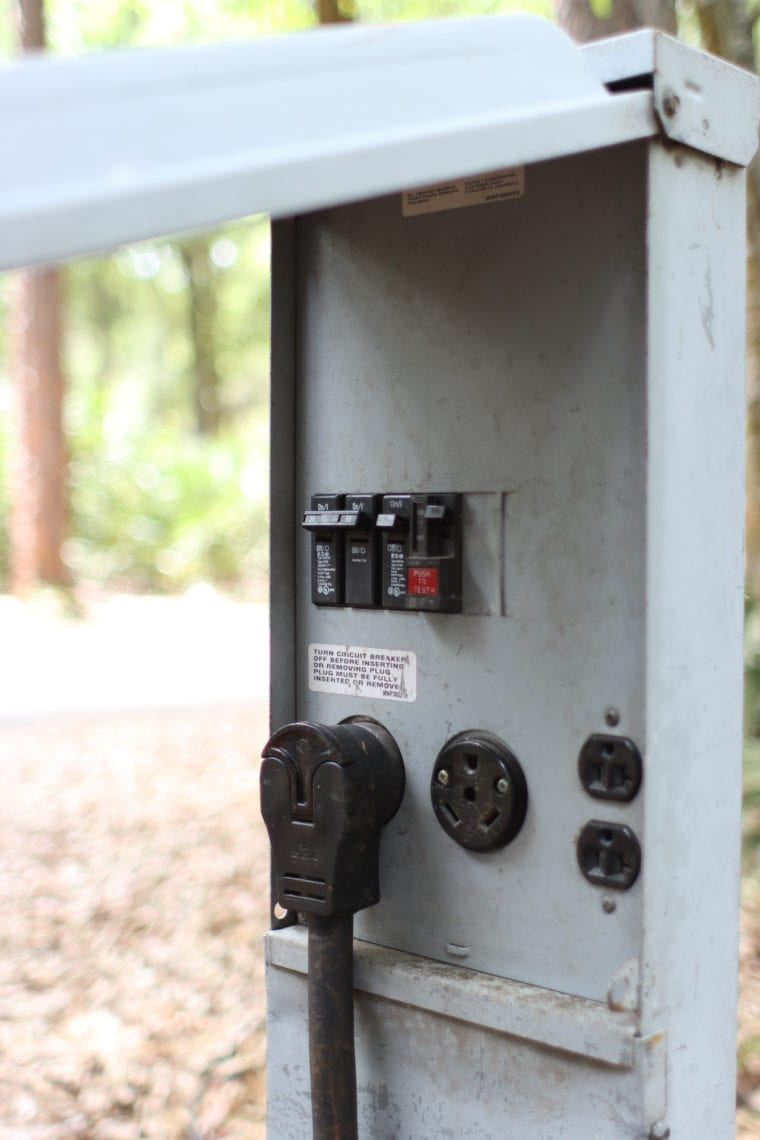 Electrical box at campsite open showing panel